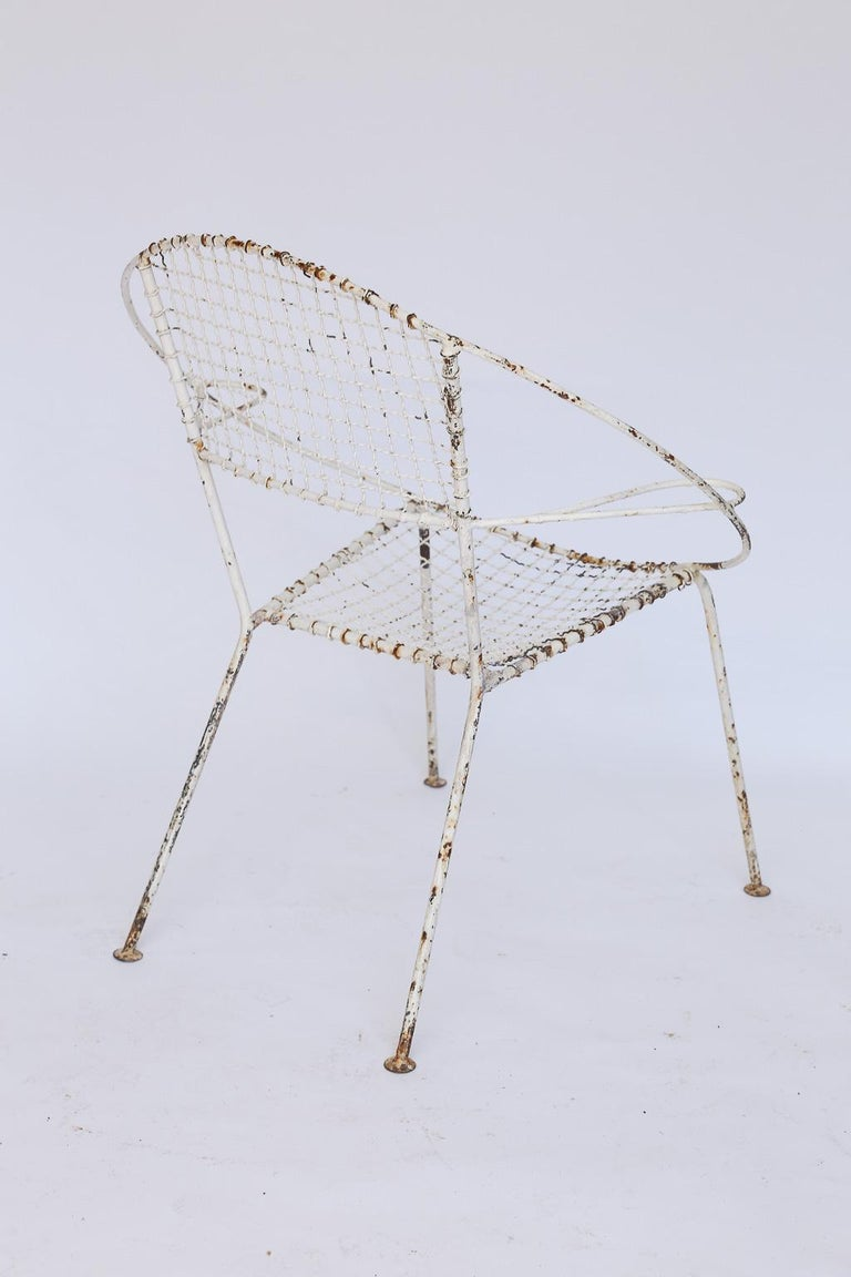 Set of Four Midcentury French Garden Chairs For Sale 3