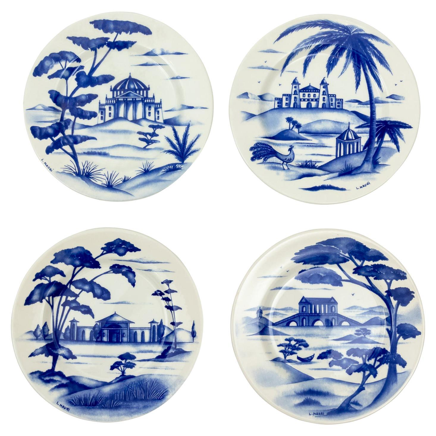 Set of Four Mid Century Hand Painted Chinoiserie Plates