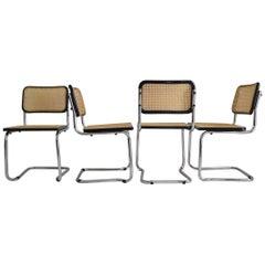 Set of Four Midcentury Italian Cesca Marcel Breuer B32 Stackable Modern Chairs
