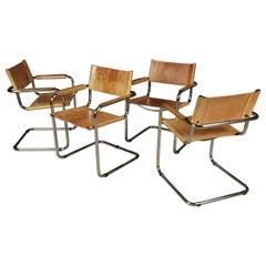 Set of Four Midcentury Leather Dining Chairs, Netherlands, circa 1970