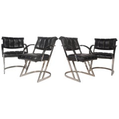 Set of Four Mid-Century Milo Baughman Style Cantilever Chairs