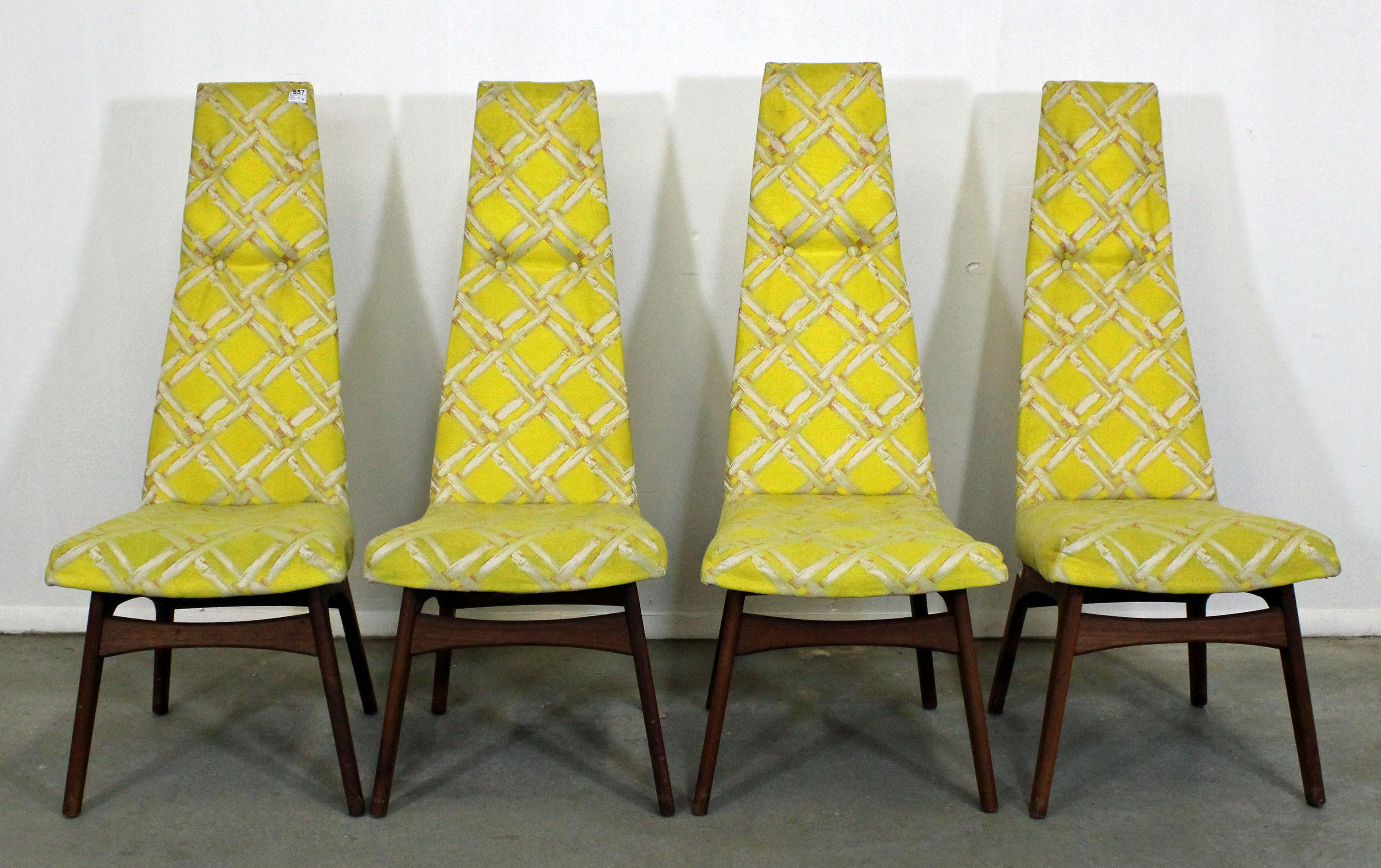 Set Of Four Mid Century Modern Adrian Pearsall High Back Dining Chairs