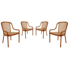 Set of Four Mid-Century Modern Armchair Dining Chairs, Ward Bennet Cane and Oak