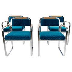 Set of Four Mid-Century Modern Armchairs in Blue Velvet and Chrome, Italy, 1970