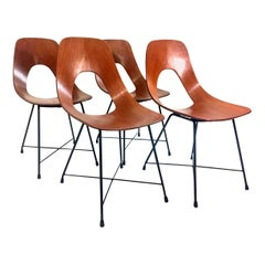 "Set of Four Mid-Century Modern Augusto Bozzi ""Ariston"" Chairs for Saporiti 1950s"