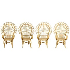 Set of Four Mid-Century Modern Bamboo and Rattan Chair, circa 1960