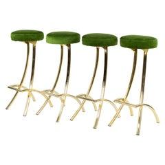 Set of four Mid-Century Modern bar Stools Brass and Green Velvet, Spain, 1970