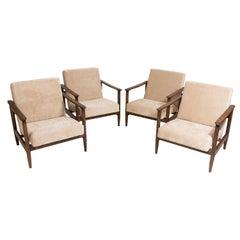 Set of Four Mid-Century Modern Beige Armchairs, Edmund Homa, 1960s, Poland