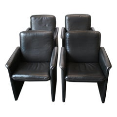 Set of Four Mid-Century Modern Black Leather Chairs by De Sede
