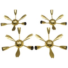 Set of Four Mid-Century Modern Brass Sputnik Wall or Ceiling Lamps, Italy, 1950s