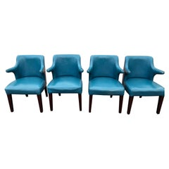 Set of Four Mid-Century Modern Chairs in Peacock Blue