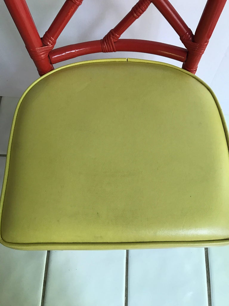 Fabric Set of Four Mid-Century Modern Chinese Chippendale DIA Bamboo Red Side Chairs For Sale