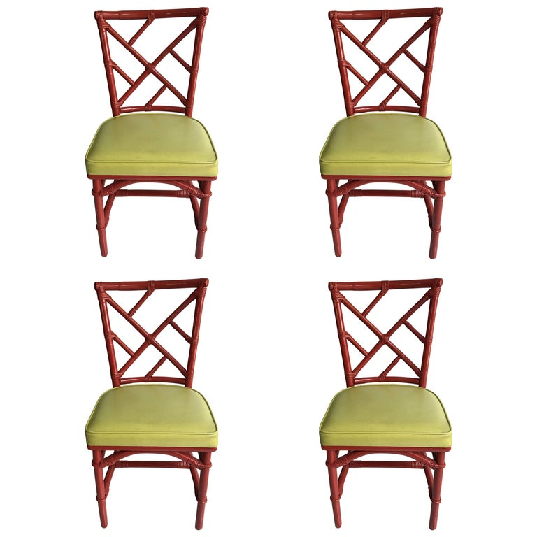 Set of Four Mid-Century Modern Chinese Chippendale DIA Bamboo Red Side Chairs For Sale