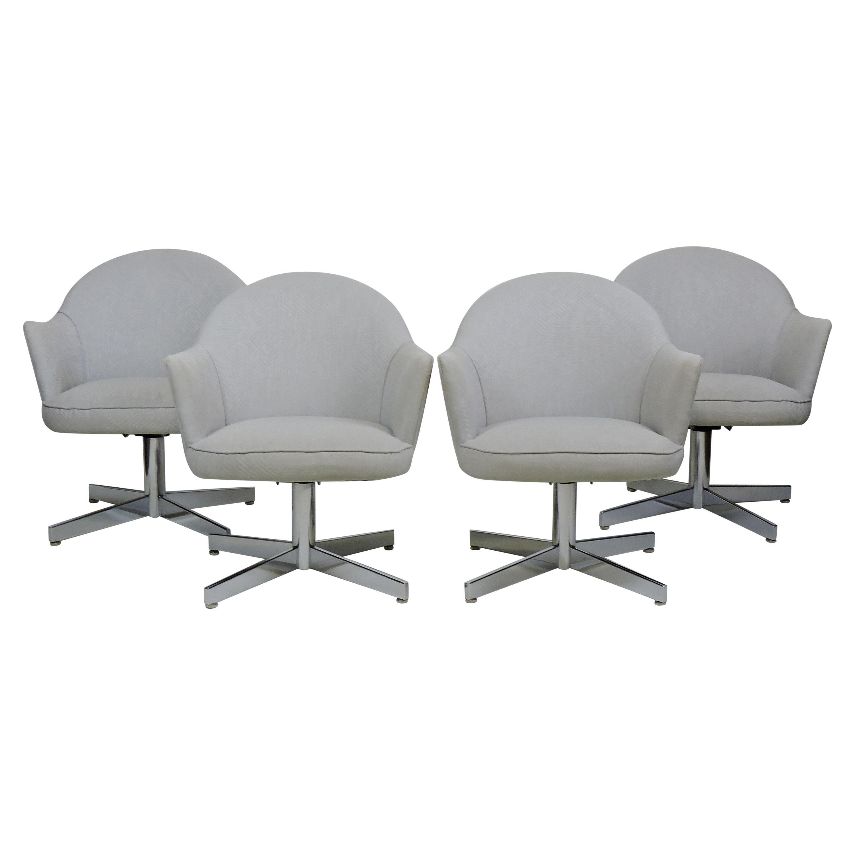 Set of Four Mid-Century Modern Chrome Swivel Dining Chairs Knoll Saarinen Style
