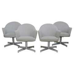 Set of Four Mid-Century Modern Chrome Swivel Dining Chairs Knoll Saarinen Style