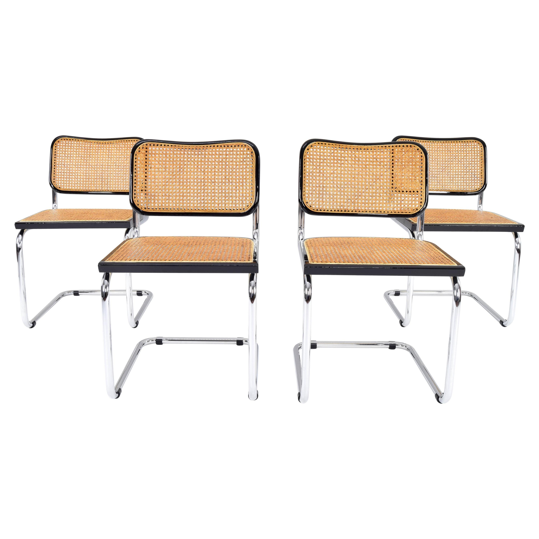Set of Four Mid-Century Modern Cidue Marcel Breuer B32 Cesca Chairs, Italy