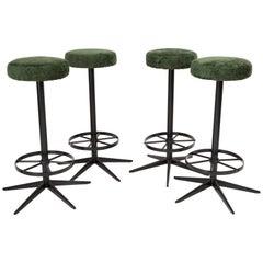 Set of Four Mid-Century Modern Dark Green Bar Stools, 1960s