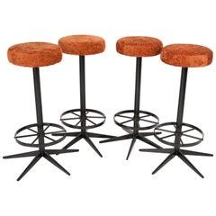 Set of Four Mid-Century Modern Dark Orange Bar Stools, 1960s