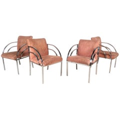 Set of Four Mid-Century Modern Dining Chairs in the Style of Milo Baughman