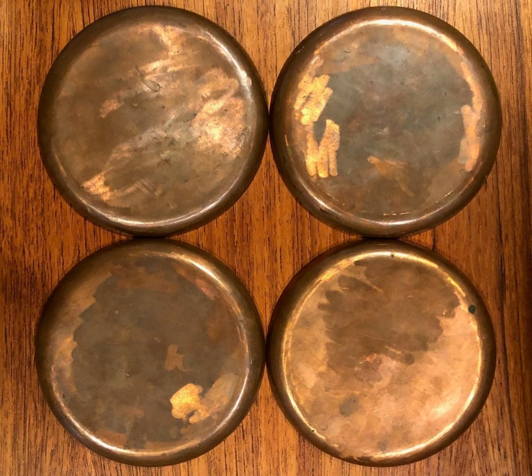 Scandinavian Modern Set of Four Mid-Century Modern Enamel on Copper Plates For Sale