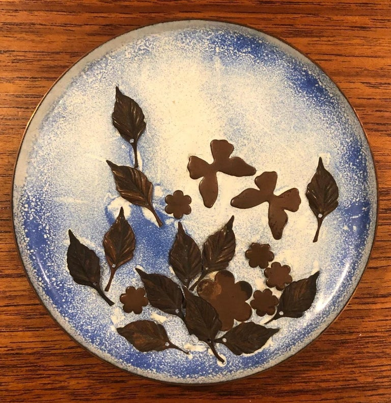 Set of Four Mid-Century Modern Enamel on Copper Plates For Sale 1