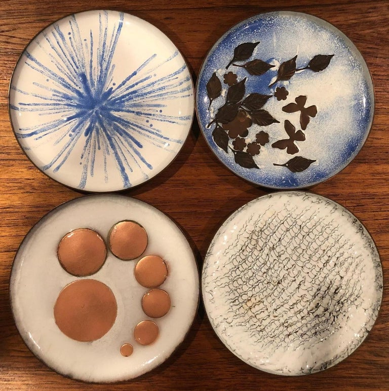 Set of Four Mid-Century Modern Enamel on Copper Plates For Sale 2
