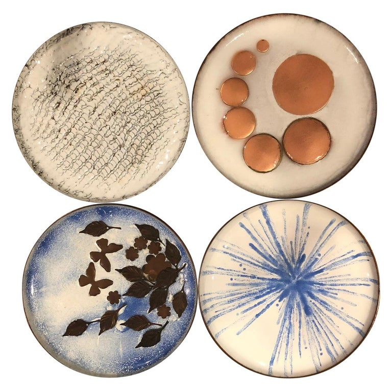 Set of Four Mid-Century Modern Enamel on Copper Plates For Sale