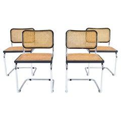 Set of Four Mid-Century Modern Italian Marcel Breuer B32 Cesca Chairs, 70s