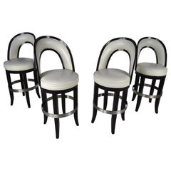 Set of Four Mid-Century Modern Italian Swivel Bar Stools