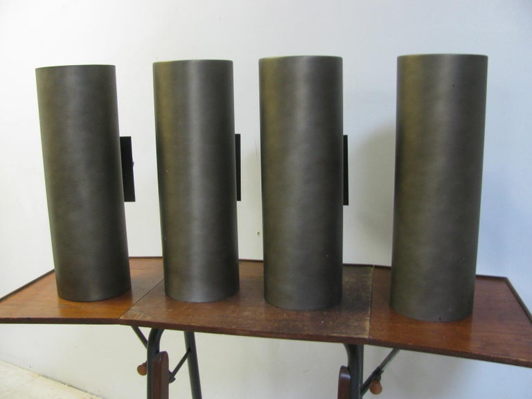 American Set of Four Mid-Century Modern Large Outdoor Sconces by Lightolier For Sale