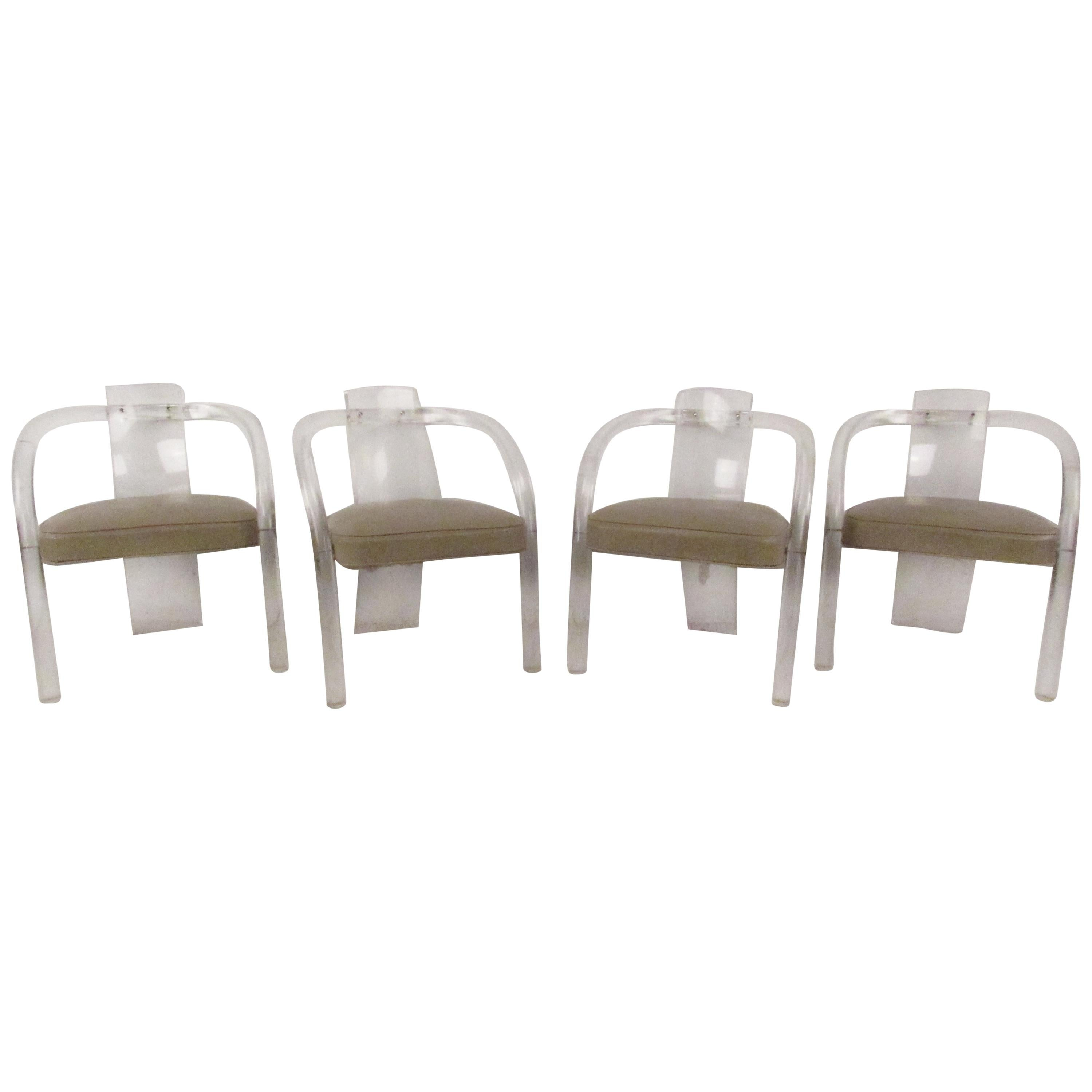 Set of Four Mid-Century Modern Lucite Dining Chairs
