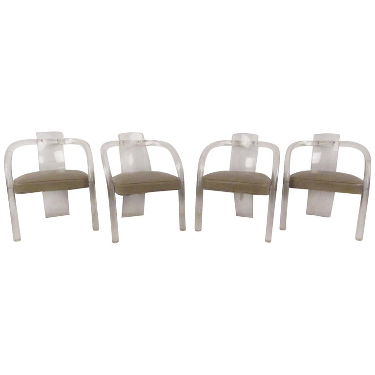 Set of Four Mid-Century Modern Lucite Dining Chairs For Sale