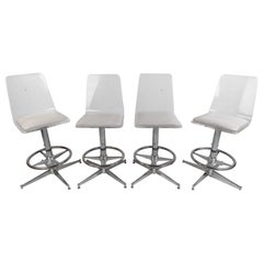 Set of Four Mid-Century Modern Lucite Swivel Bar Stools