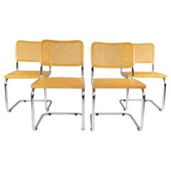 Set of Four Mid-Century Modern Marcel Breuer B32 Cesca Blonde Chairs, Italy 1970