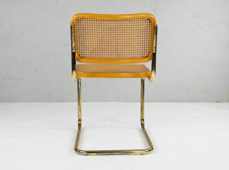 Set of Six Mid-Century Modern Marcel Breuer B32 Cesca Brass Chairs, Italy, 1970 For Sale 5