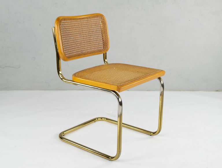 Set of Six Mid-Century Modern Marcel Breuer B32 Cesca Brass Chairs, Italy, 1970 For Sale 8