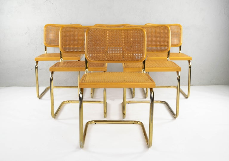 Italian Set of Six Mid-Century Modern Marcel Breuer B32 Cesca Brass Chairs, Italy, 1970 For Sale