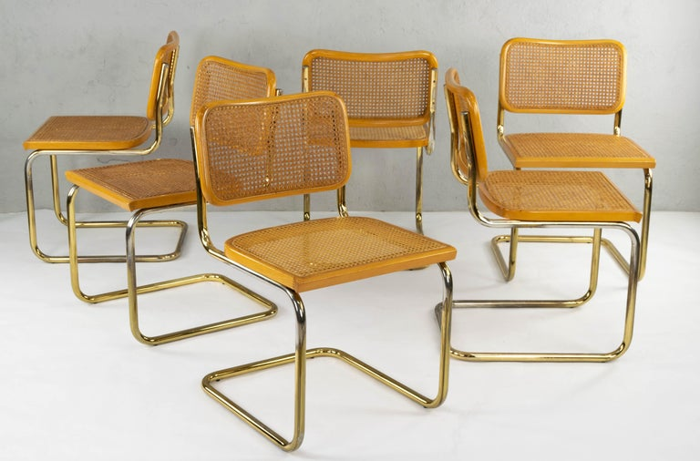 Set of Six Mid-Century Modern Marcel Breuer B32 Cesca Brass Chairs, Italy, 1970 In Good Condition For Sale In Algatocín, Malaga Andalucia
