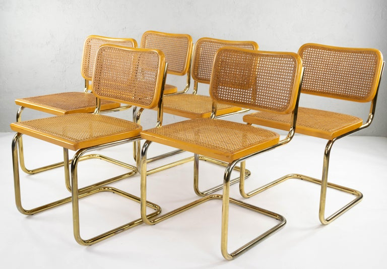 20th Century Set of Six Mid-Century Modern Marcel Breuer B32 Cesca Brass Chairs, Italy, 1970 For Sale