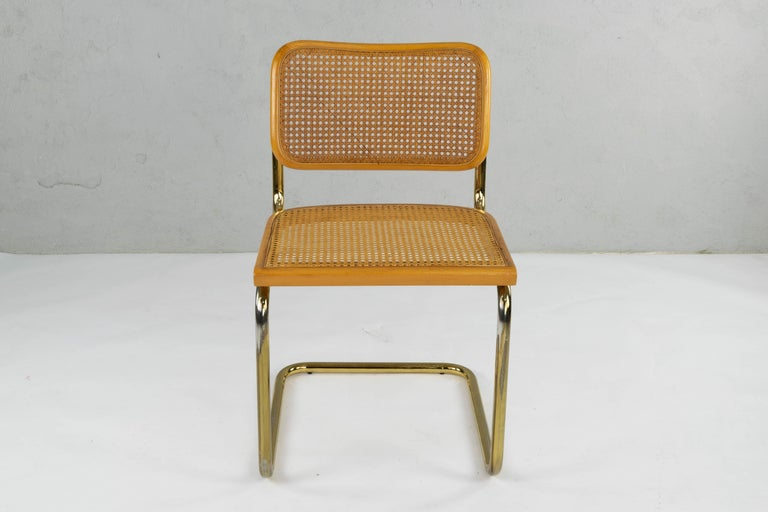 Set of Six Mid-Century Modern Marcel Breuer B32 Cesca Brass Chairs, Italy, 1970 For Sale 1