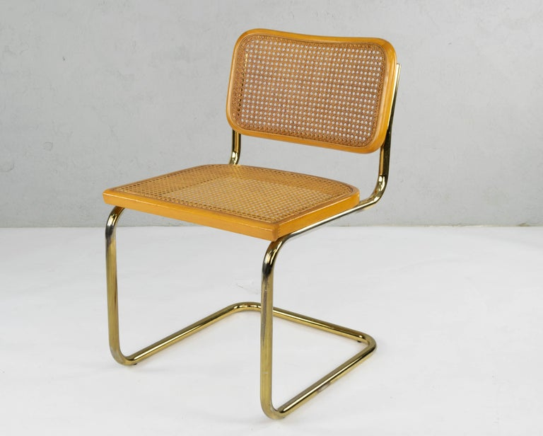 Set of Six Mid-Century Modern Marcel Breuer B32 Cesca Brass Chairs, Italy, 1970 For Sale 2