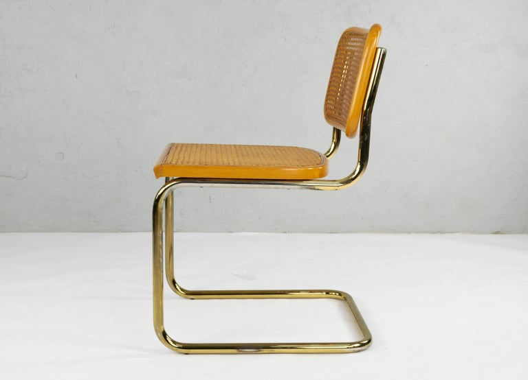 Set of Six Mid-Century Modern Marcel Breuer B32 Cesca Brass Chairs, Italy, 1970 For Sale 3