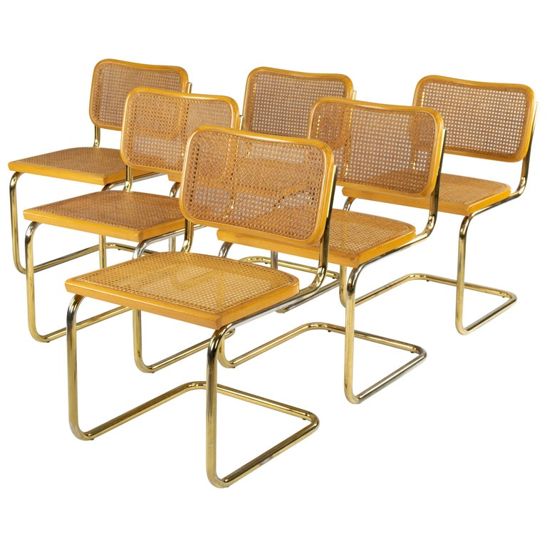 Set of Six Mid-Century Modern Marcel Breuer B32 Cesca Brass Chairs, Italy, 1970 For Sale