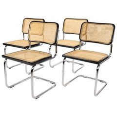 Set of Four Mid-Century Modern Marcel Breuer B32 Cesca Chairs by Cidue, Italy