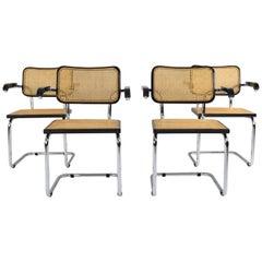 Set of Four Mid-Century Modern Marcel Breuer B64 Cesca Chairs, Italy, 1970