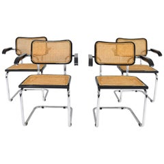 Set of Four Mid-Century Modern Marcel Breuer B64 Cesca Chairs, Italy, 1970