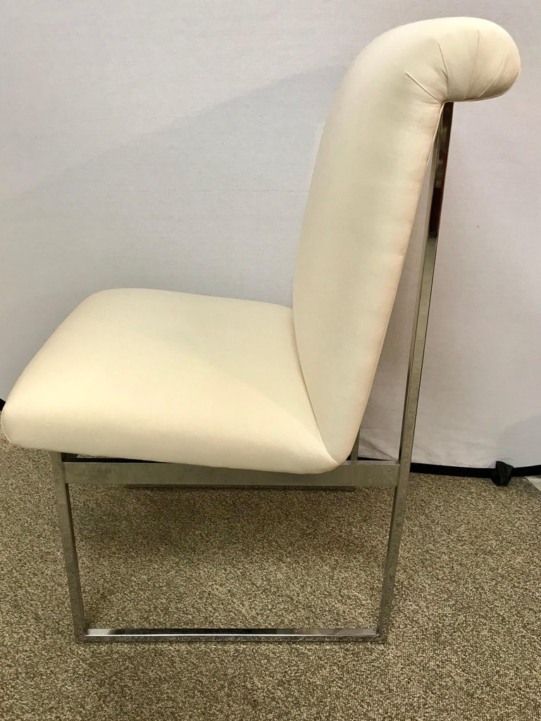 Set of Four Mid-Century Modern Milo Baughman Steel Chrome Dining Chairs In Good Condition For Sale In West Hartford, CT