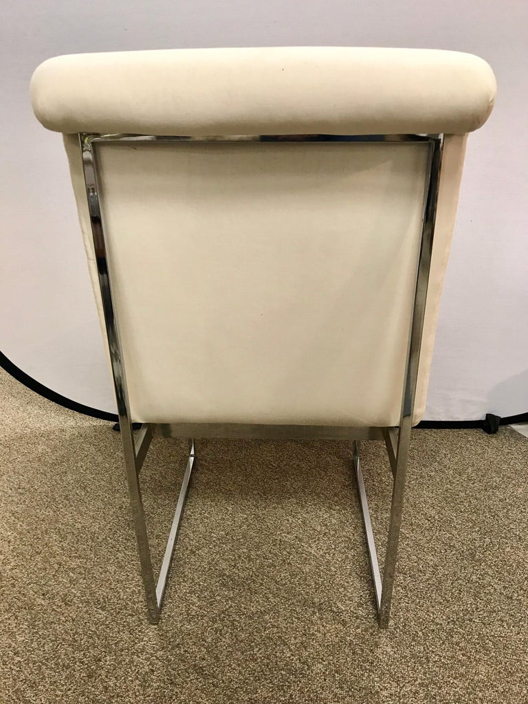 Set of Four Mid-Century Modern Milo Baughman Steel Chrome Dining Chairs For Sale 1