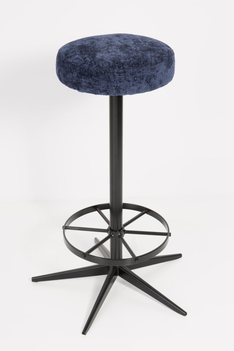 Polish Set of Four Mid-Century Modern Navy Blue Bar Stools, 1960s For Sale