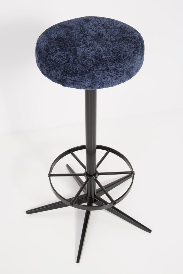 Hand-Crafted Set of Four Mid-Century Modern Navy Blue Bar Stools, 1960s For Sale